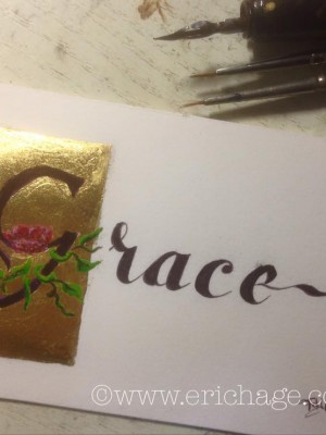 Grace, bladgoud en eitempera