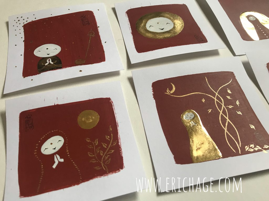 Jizo drawings Indian red and gold leaf