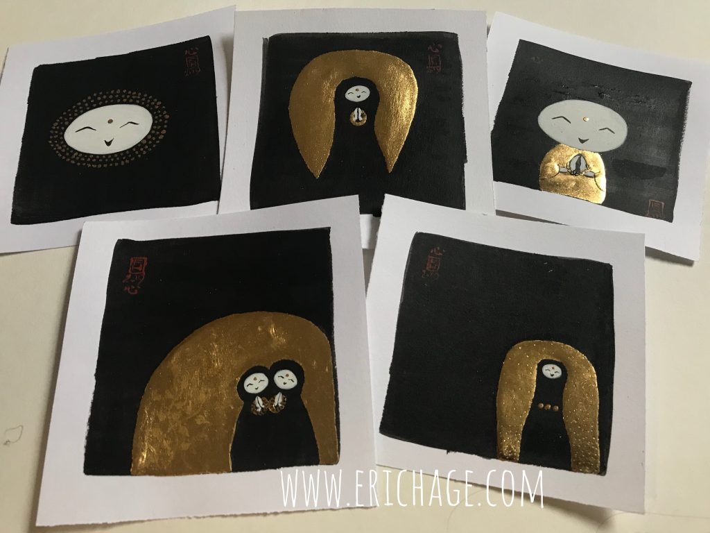 Jizo drawings black and gold leaf