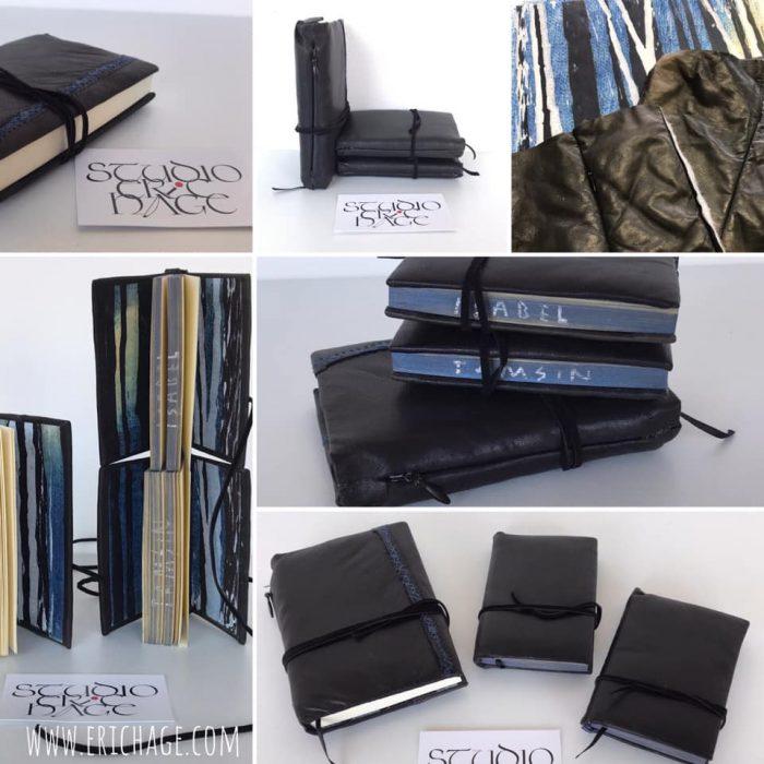 2e versie Leren boekje van restant van een favoriet jasje met vulling, 2x 9x13cm. miniboekjes 7x9cm,